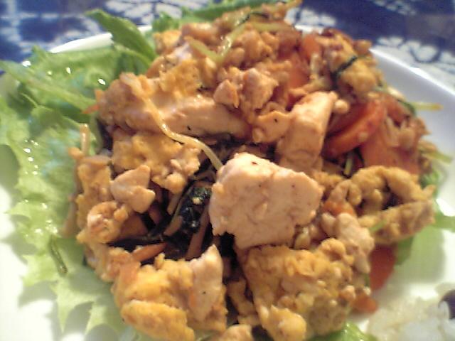 野菜と豆腐のピリ辛味噌いため